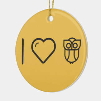 I Love Owes Double-Sided Ceramic Round Christmas Ornament