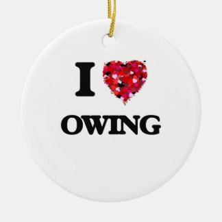 I Love Owing Double-Sided Ceramic Round Christmas Ornament