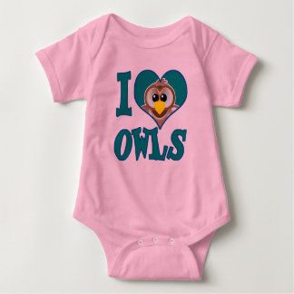 I Love owls Baby Bodysuit