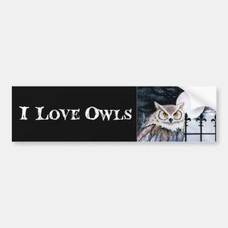 I Love Owls Bumper Sticker Car Bumper Sticker