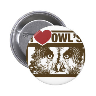 I Love Owls Button