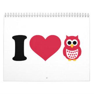 I love owls calendar