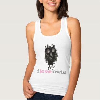 I Love Owls - Custom Woman's Funny Owl Saying Jersey Racerback Tank Top