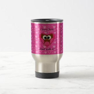 I love owls deal with it travel mug