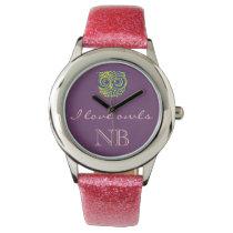i love owls initials wristwatch