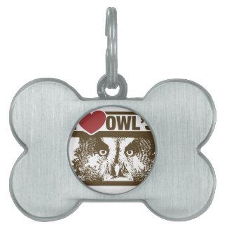 I Love Owls Pet Tag