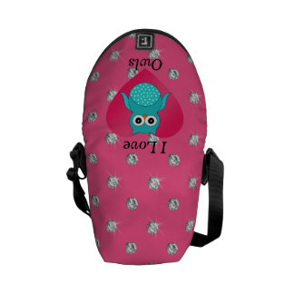 I love owls pink diamonds courier bags