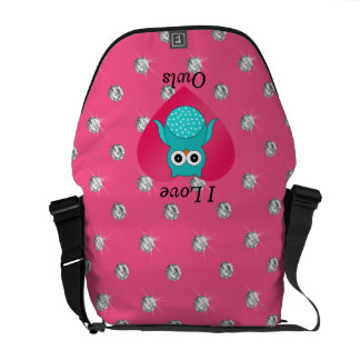 I love owls pink diamonds courier bag
