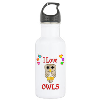 I Love Owls Stainless Steel Water Bottle