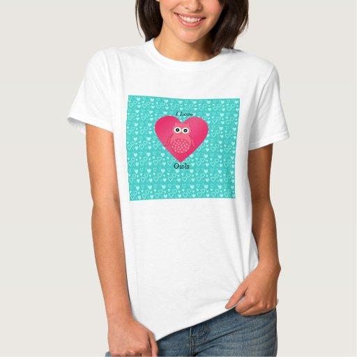 I love owls turquoise hearts tees