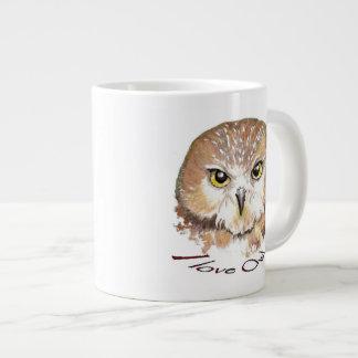 I love Owls, Watercolor Saw Whet Bird, Animal Large Coffee Mug