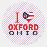 I love Oxford, Ohio Round Stickers