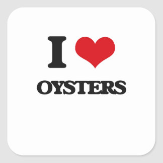 I Love Oysters Square Stickers