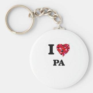 I Love Pa Basic Round Button Keychain
