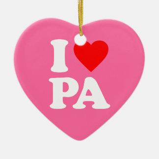 I LOVE PA Double-Sided HEART CERAMIC CHRISTMAS ORNAMENT