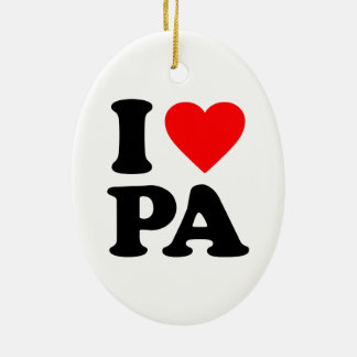 I LOVE PA Double-Sided OVAL CERAMIC CHRISTMAS ORNAMENT
