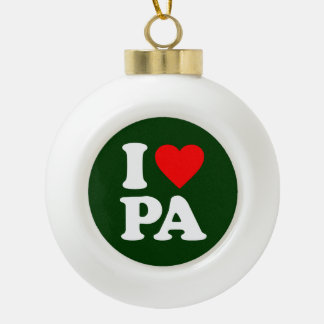 I LOVE PA CERAMIC BALL CHRISTMAS ORNAMENT