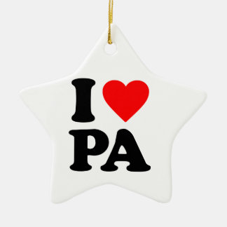 I LOVE PA Double-Sided STAR CERAMIC CHRISTMAS ORNAMENT