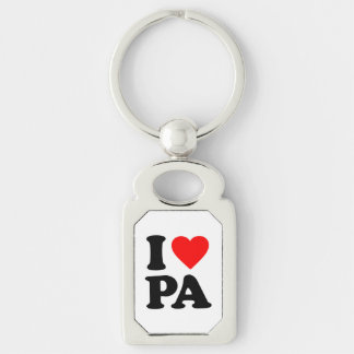 I LOVE PA Silver-Colored RECTANGULAR METAL KEYCHAIN
