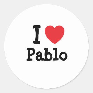 I love Pablo heart custom personalized Classic Round Sticker
