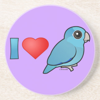 I Love Pacific Parrotlets (blue) Coaster