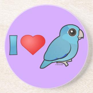I Love Pacific Parrotlets (blue) Sandstone Coaster