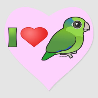 I Love Pacific Parrotlets (green) Heart Sticker