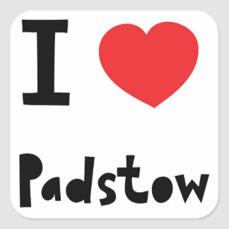 I love Padstow Square Sticker
