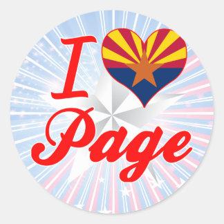I Love Page, Arizona Classic Round Sticker