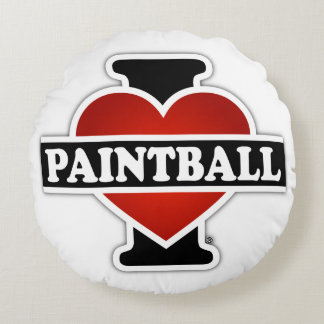 I Love Paintball Round Pillow