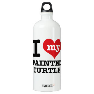 I Love painted turle Aluminum Water Bottle