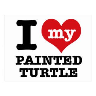 I Love painted turle Postcard