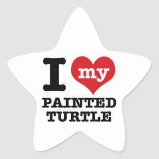 I Love painted turle Star Sticker