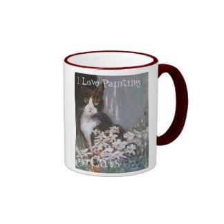 I Love Painting Cats. Tabby cats. Pets Ringer Mug