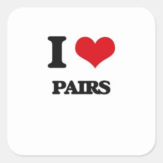 I Love Pairs Square Sticker