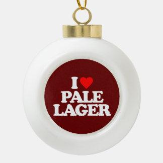 I LOVE PALE LAGER CERAMIC BALL CHRISTMAS ORNAMENT
