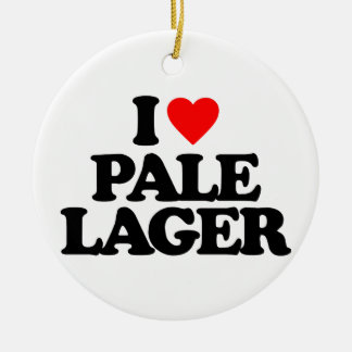 I LOVE PALE LAGER Double-Sided CERAMIC ROUND CHRISTMAS ORNAMENT