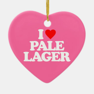 I LOVE PALE LAGER Double-Sided HEART CERAMIC CHRISTMAS ORNAMENT