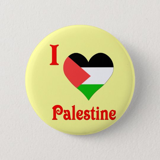 I Love Palestine Flag Pinback Button