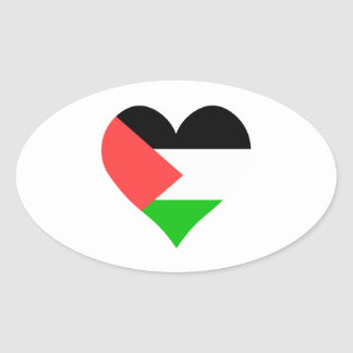I Love Palestine Heart Oval Stickers