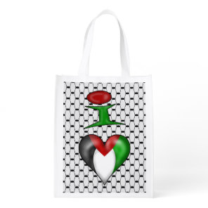 I love Palestine I Heart Palestine Grocery Bag