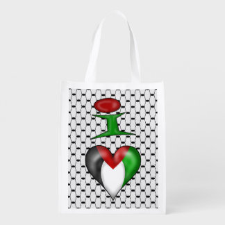 I love Palestine I Heart Palestine Grocery Bag