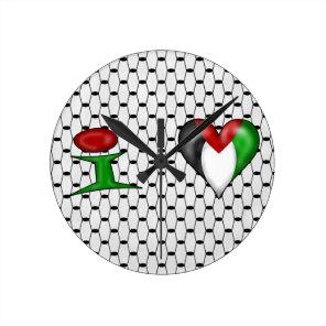 I love Palestine I Heart Palestine Round Clock