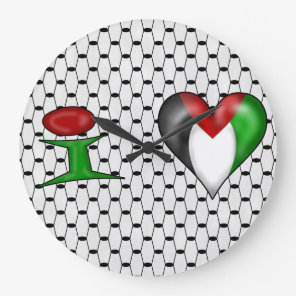 I love Palestine Large Clock