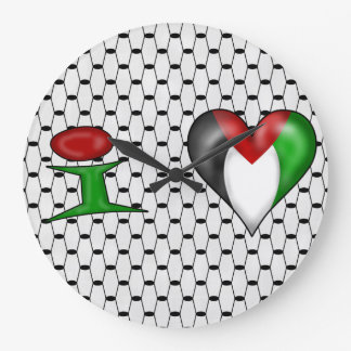 I love Palestine Large Clock