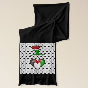 I love Palestine on black background Scarf