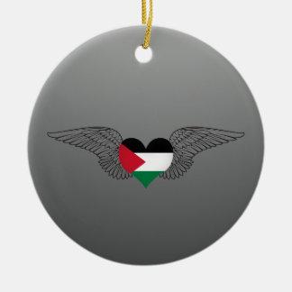 I Love Palestine -wings Ceramic Ornament