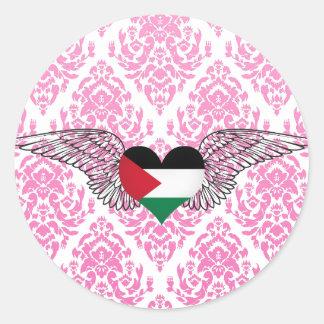 I Love Palestine -wings Classic Round Sticker