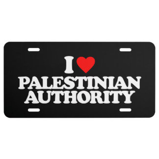 I LOVE PALESTINIAN AUTHORITY LICENSE PLATE