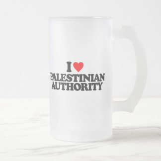I LOVE PALESTINIAN AUTHORITY 16 OZ FROSTED GLASS BEER MUG